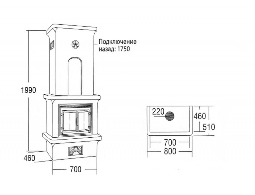 Схема для расчета нужного количества материалов для камина
