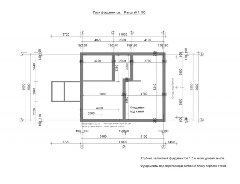 План фундаментов, чертеж
